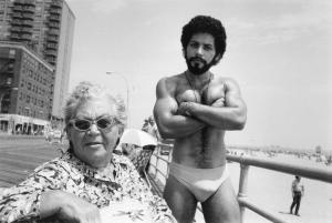 Angel and Woman on Boardwalk, Brighton Beach, 1976.