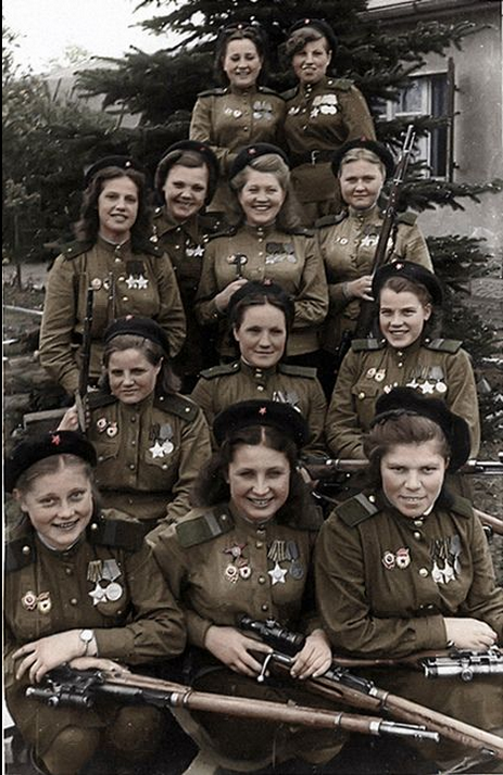 Soviet Female Snipers, 1945. Nearly 800 kills in this picture.