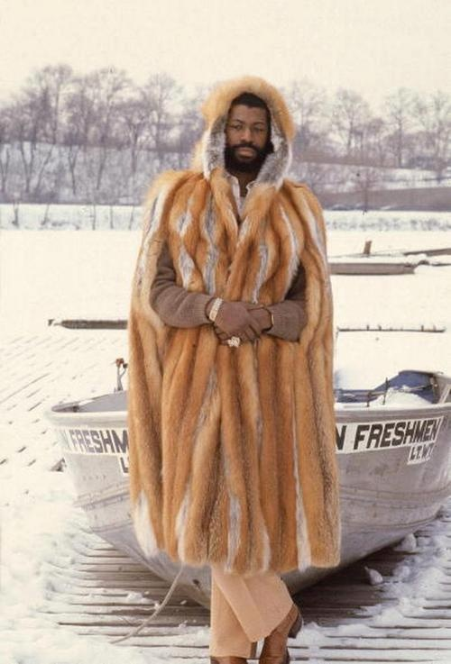 Teddy Pendergrass in a firefox fur coat, 1970s
