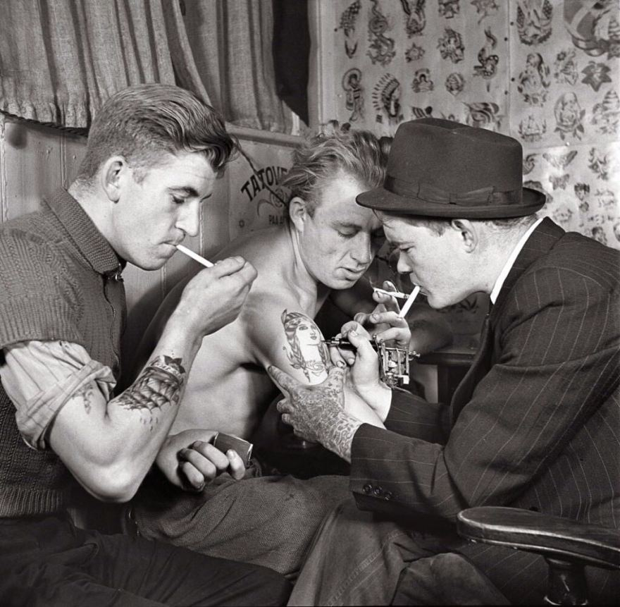 Getting a tattoo in 1942.