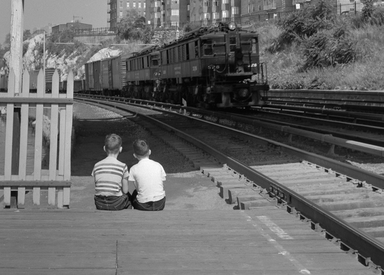 Train Watching - Marble hill, Bronx - 1955
