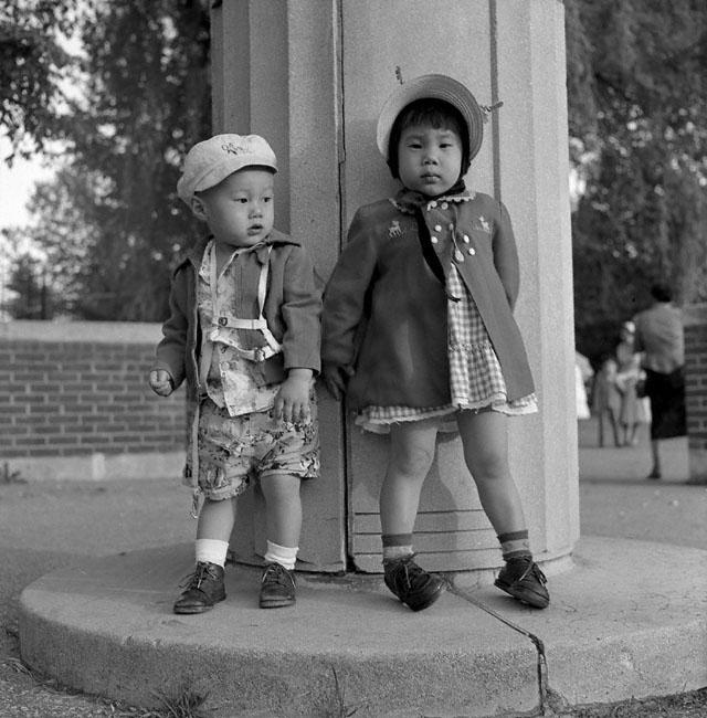 Two kids kissena park flushing 1954