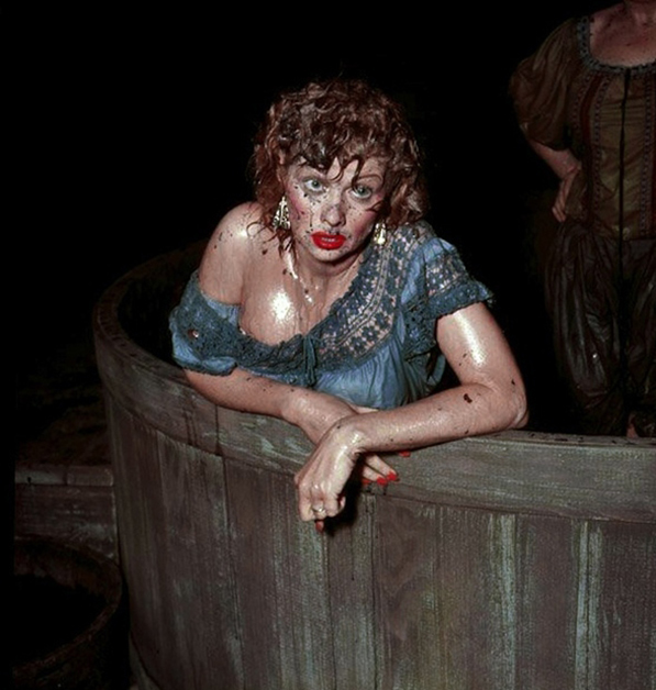 Lucille Ball filming the grape-stomping