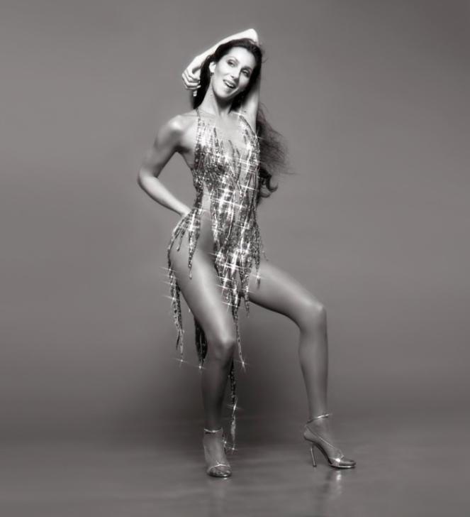 Cher-Sequin-Dress-Black-White