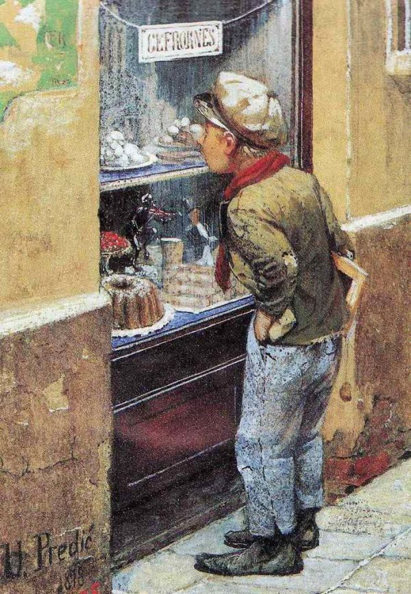 Boy in front of a shop window, 1878 by Uroš Predić (Serbian, 1857–1953)