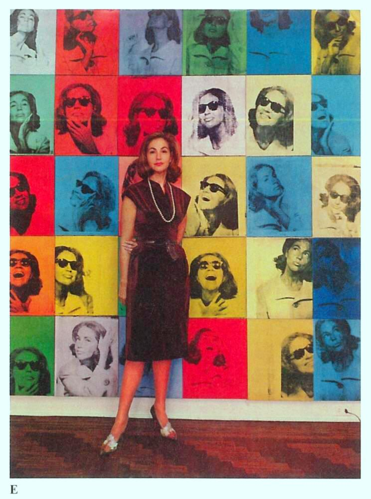 ethel scull, standing in front of the portrait andy warhol made of her, it was his first ever commissioned work [1963]