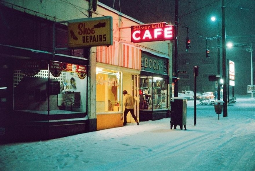Cold night at the Silver Grill Cafe, Vancouver Canada 1975