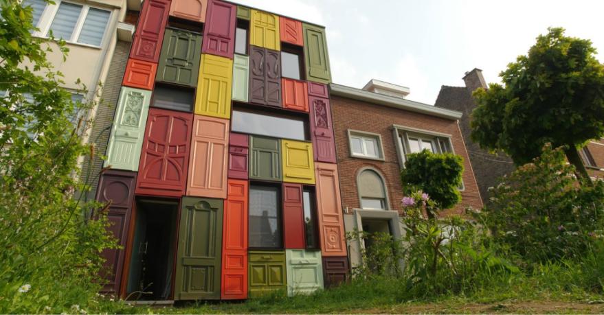Facade made of doors (Ghent, Belgium)