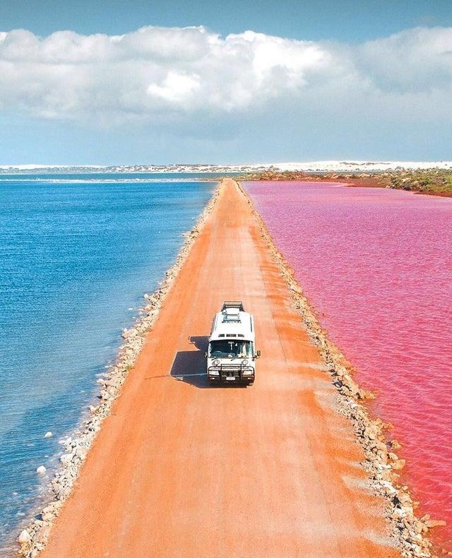 Pink Salt lakes in Western Australia.